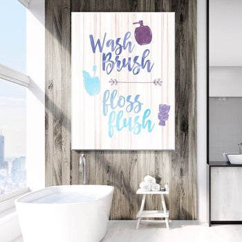 Wash, Brush, Floss, Flush Canvas Set