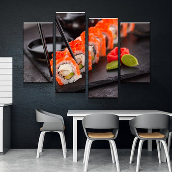 Yummi Sushi Kitchen and Dining Room Wall Decor Canvas Set
