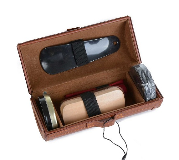 Mens Shoe Shine Kit-brown case, Mens Shoe Shine Kit, That Shuu Girl Boutique LLC  - That Shuu Girl Boutique LLC