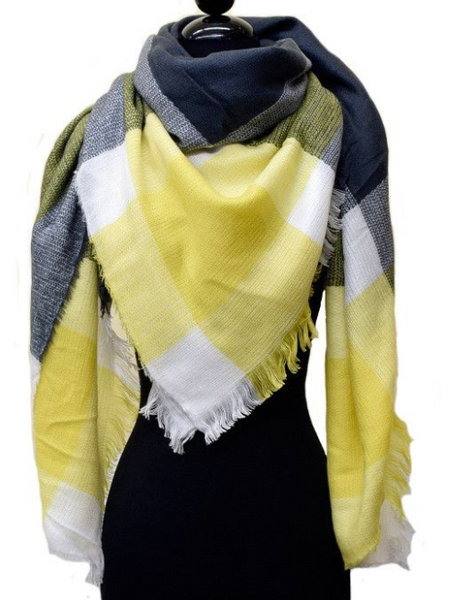 Yellow and Gray Plaid Blanket Scarf, Scarf, That Shuu Girl Boutique LLC  - That Shuu Girl Boutique LLC