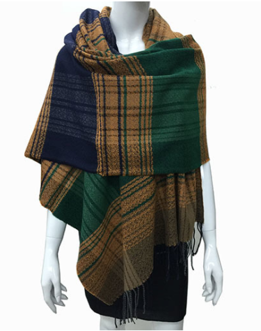 Green and Mustard Blanket Scarf, Scarf, That Shuu Girl Boutique LLC  - That Shuu Girl Boutique LLC
