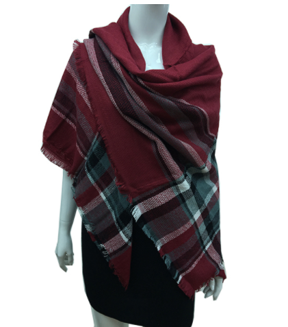 Plaid Maroon Blanket Scarf, Scarf, That Shuu Girl Boutique LLC  - That Shuu Girl Boutique LLC
