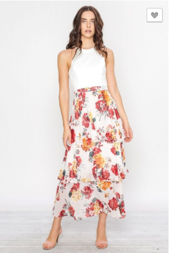 Floral Layered Maxi Skirt