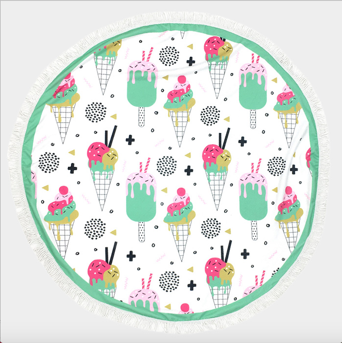 Ice Cream Cone Round beach terry towel