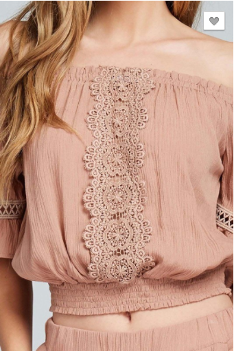 Nude Embroidered Lace Off The Shoulder Crop Top