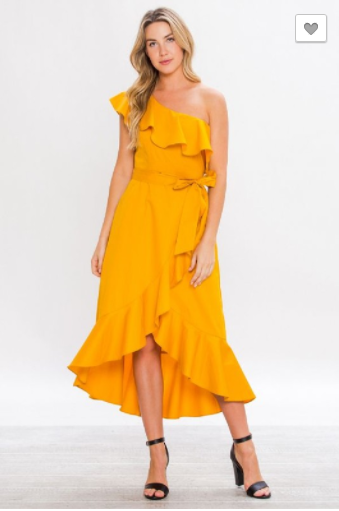 Mustard Yellow Asymmetrical Wrap Dress With Ruffles