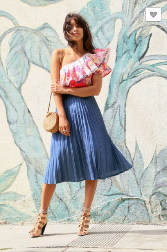 Calin Pleated Denim Skirt