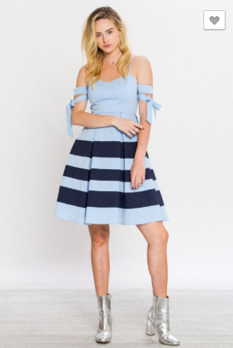 BLUE STRIPED OFF-THE-SHOULDER DRESS WITH SELF TIE