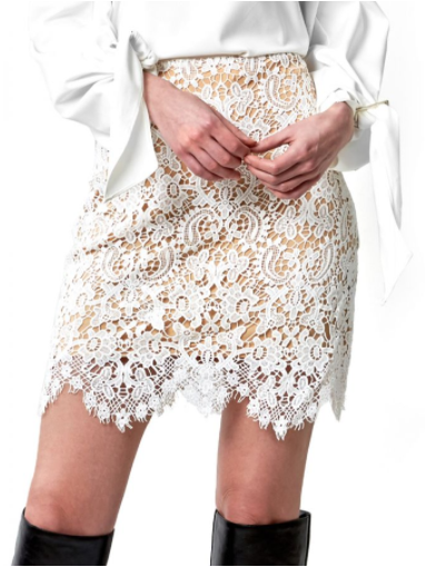 White Lace Nude lining Skirt
