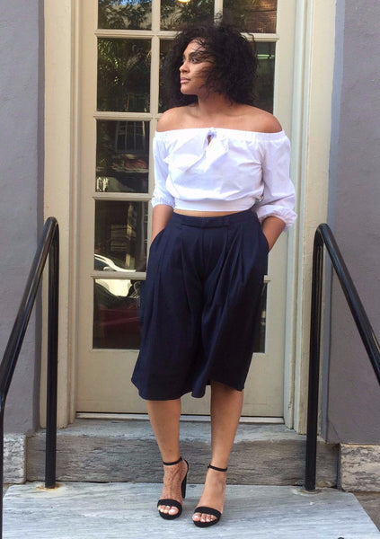 Nave Blue Wide Leg Capri