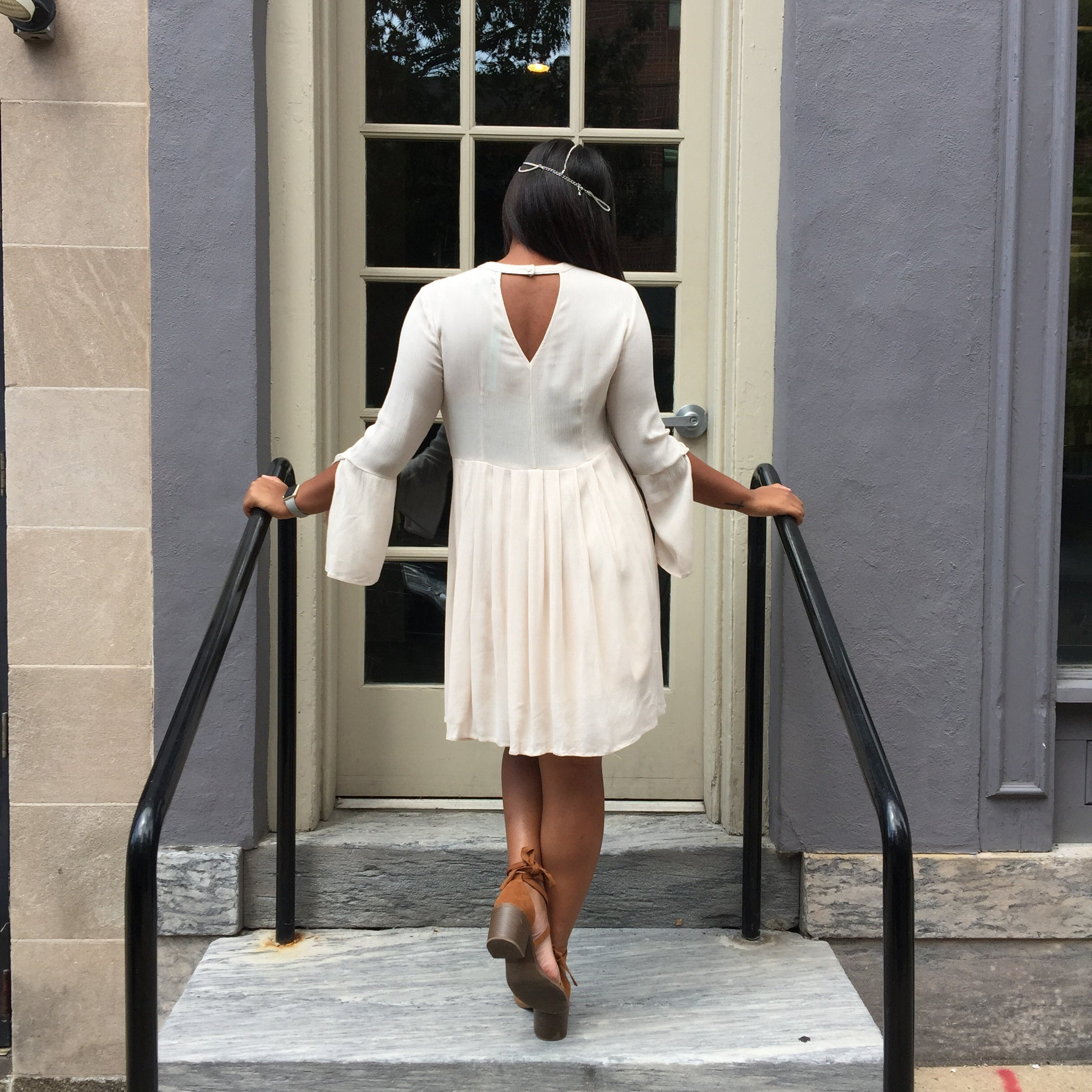 Ivory bell sleeve dress