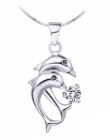 "925 Sterling Silver 18"" Dolphin Necklace"
