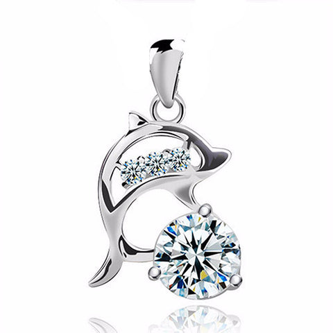 925 Sterling Silver Jumping Dolphin Diamond Pendant