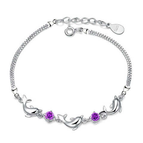 Silver Plated Diamond Dolphin Bracelet For women