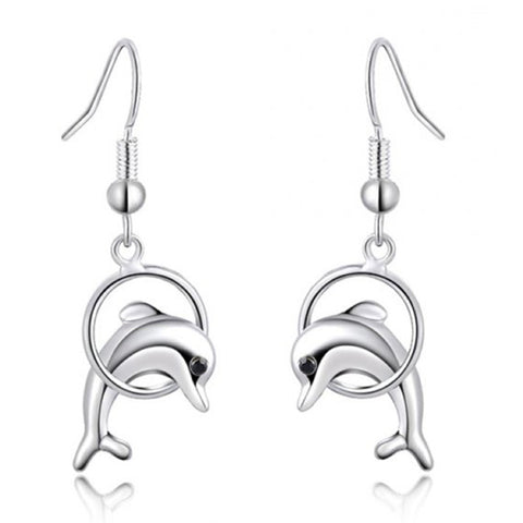 Silver Drop Dolphin Jumping Earrings