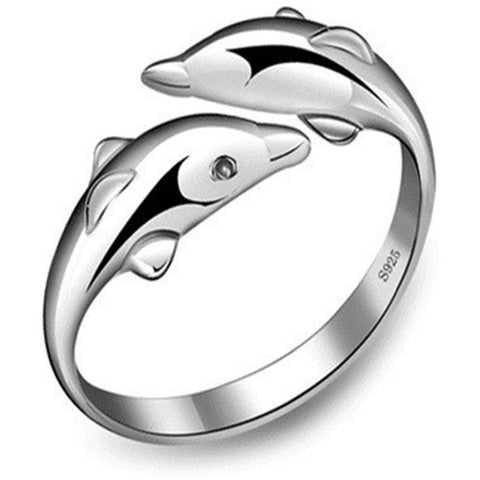Adjustable 925 Silver Lovely Dolphin Ring for Women
