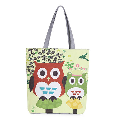 Floral And Owl Printed Canvas Tote Bag