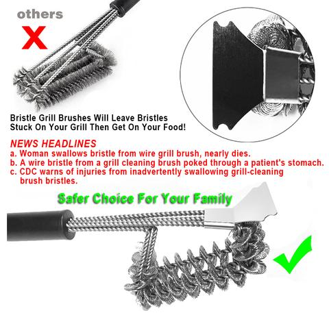 Patented Bristle Free Barbecue Grill Brush Cleaner