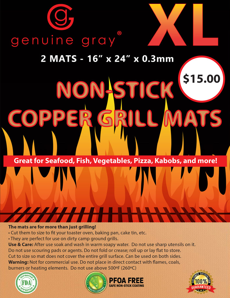 """XL Copper Barbecue Grill Mats 24"""" X 16"""" 2 In A Pack Double"""