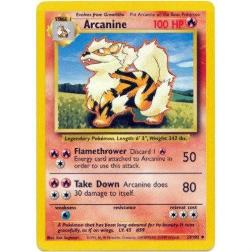 Trading Card - Arcanine 23/102 - Uncommon - Base Set