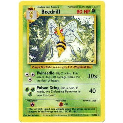 Trading Card - Beedrill 17/102 - Rare - Base Set