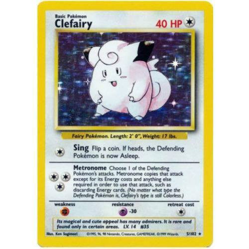 Trading Card - Clefairy 5/102 - Holo Rare - Base Set
