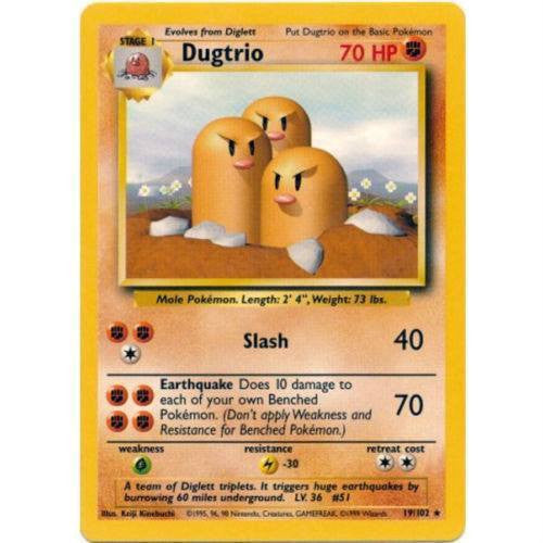 Trading Card - Dugtrio 19/102 - Rare - Base Set