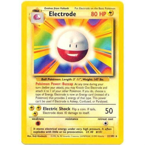 Trading Card - Electrode 21/102 - Rare - Base Set