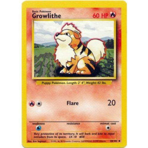 Trading Card - Growlithe 28/102 - Uncommon - Base Set