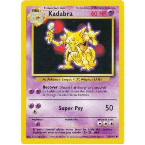 Trading Card - Kadabra 32/102 - Uncommon - Base Set