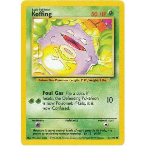 Trading Card - Koffing 51/102 - Common - Base Set