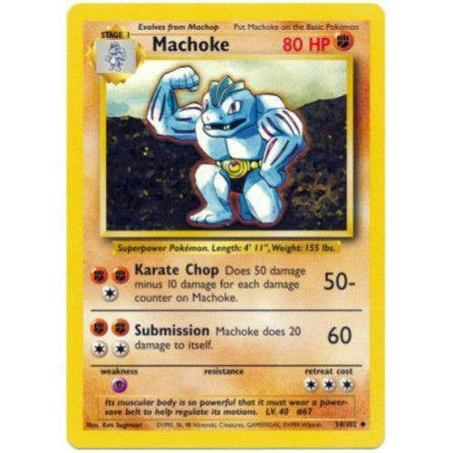 Trading Card - Machoke 34/102 - Uncommon - Base Set