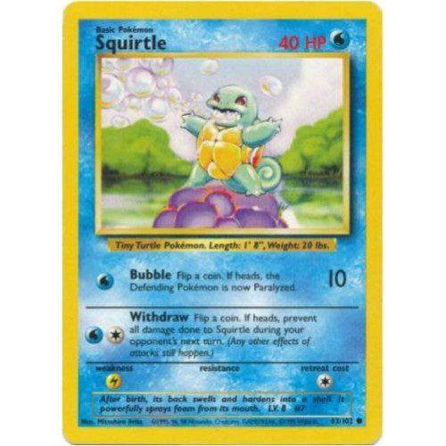 Trading Card - Squirtle 63/102 - Common - Base Set