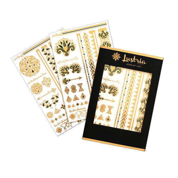 emerald luxe lustria gold flash tattoo jewelry for party metallic event