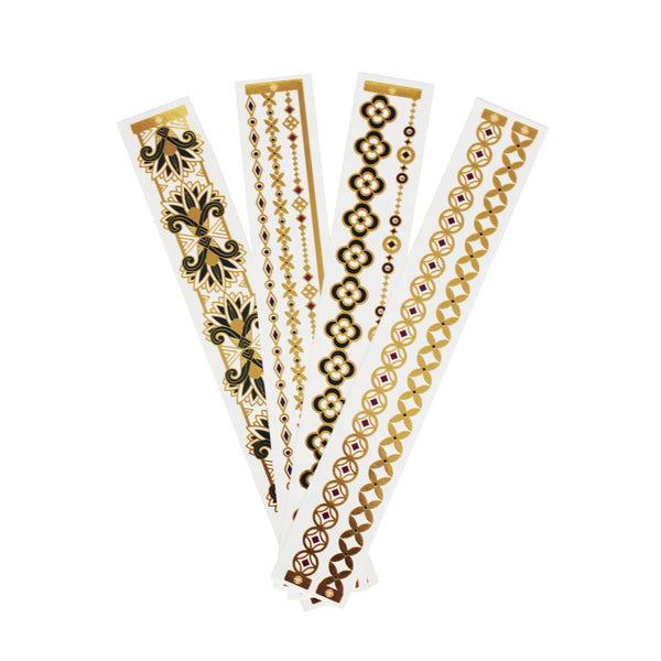 bracelet gift set lustria gold flash tattoo jewelry for party metallic event
