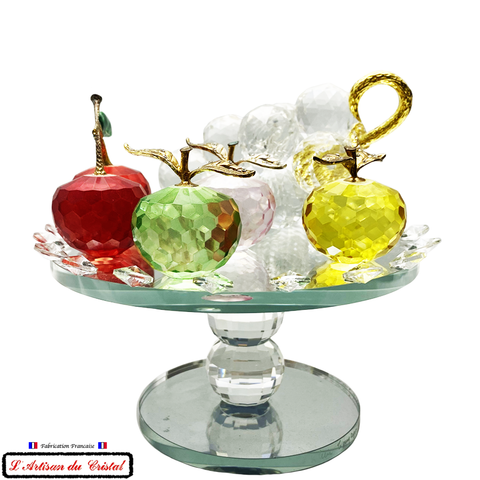 "Collection Corbeille de Fruits ""Grappe de Raisin"" en Cristal sur Socle Miroir Tournant Maison Klein 54120 Baccarat France"