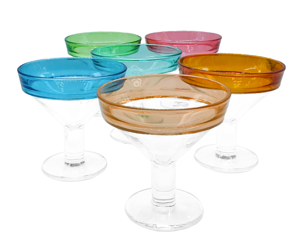 Service en couleur : 6 Coupes à glace en cristal sur pied MADE IN FRANCE