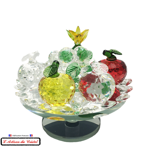 "Collection Corbeille de Fruits ""Ananas Vert"" en Cristal sur Socle Miroir Tournant Maison Klein 54120 Baccarat France"