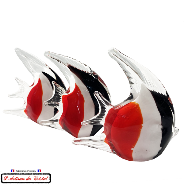 "Sculpture Collection Animals ""Scalaire Rouge Noir Blanc"" en Cristal Maison Klein 54120 Baccarat France"