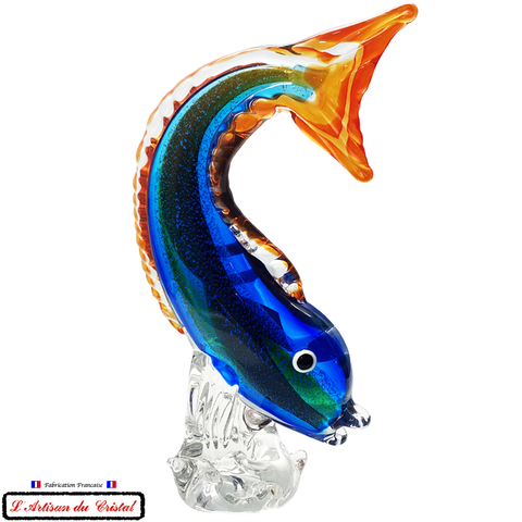 "Sculpture Collection Animals ""Flying Fish"" en Cristal Maison Klein 54120 Baccarat France"