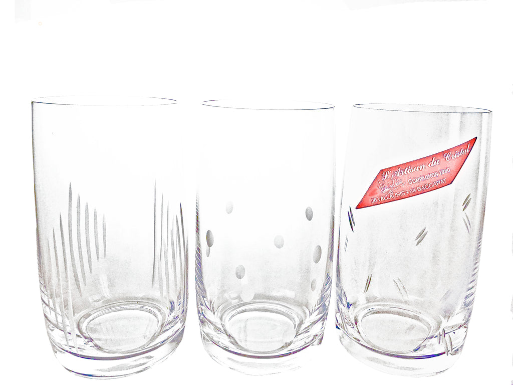 6 verres long drink et cocktail en cristal taillé - MADE IN FRANCE