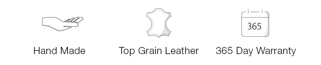 Maison de Sabre leather is hand made, top grain leather that comes with a 365 day warranty
