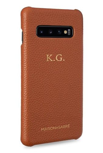 samsung s10 plus phone case- brown- perspective