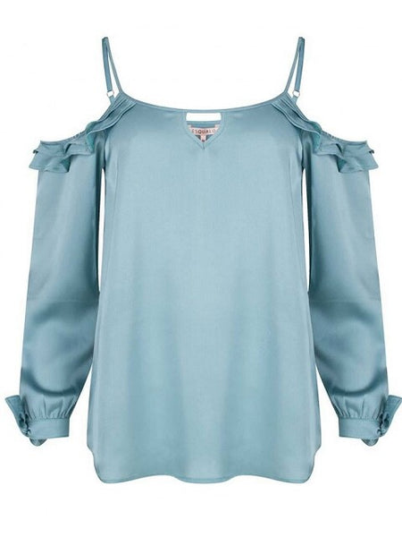 Cold Shoulder Lagoon Top - Eighty7 Boulevard