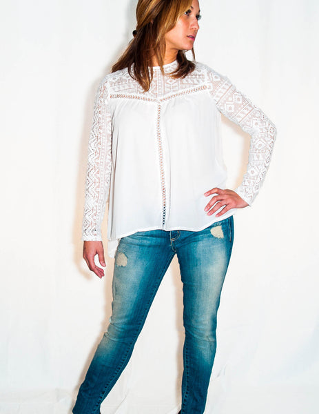 Fiona Ivory Top with Aztec Lace - Eighty7 Boulevard