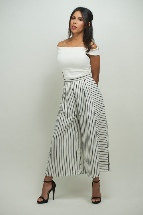 Striped Derby Pants - Eighty7 Boulevard