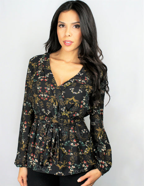 Madam Floral Print Wrap Top - Eighty7 Boulevard