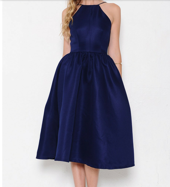Navy Debutante Open Back Dress - Eighty7 Boulevard