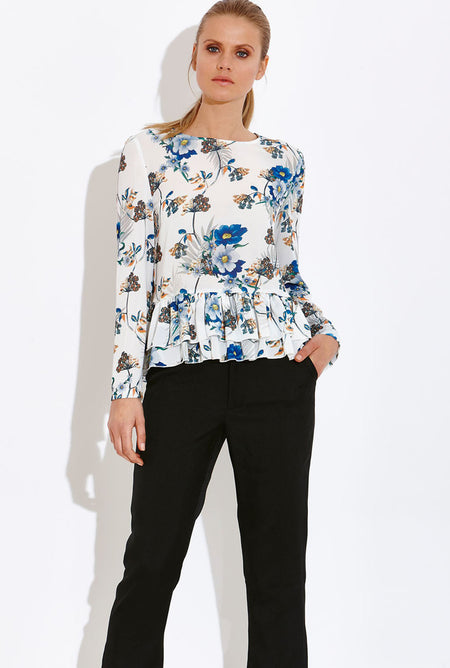 Madam Floral Print Wrap Top