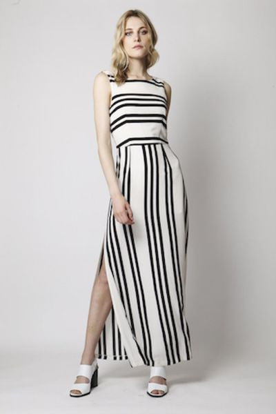 Over Exposed Ivory and Striped Maxi Dress - Eighty7 Boulevard